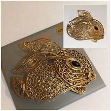 Vintage Jewellery Gold Filigree Rabbit Brooch Pin Signed Germany SS
