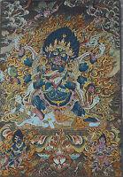 Tibet Silk Six arms Mahakala Wrathful Deity Buddha Thangka Thanka Statue