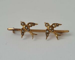 "Antique Chester 9 ct / 375 Gold & Seed Pearl ""2 Swallows"" Brooch 1908/ L 3.7 cm"