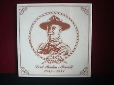 BOY SCOUT LORD BADEN-POWELL 1857 - 1941 CERAMIC TILE 6 x 6 INCHES