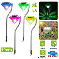 Solar Powered Outdoor Color Changing LED Diamond Shaped Stake Light Garden Decor