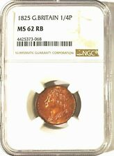 1825 Farthing NGC MS62RB Gorgeous Red Hues with Phenomenal Strike