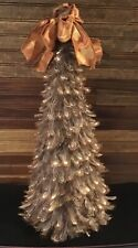 "Unique Brown Feather  Christmas Tree 18"" Tall X 8"" Wide Bow On Top Lightweight"