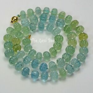 "300.8CT Aquamarine Carved Melon Fluted Beads Seed Pearl 18k gold 22"" Necklace"