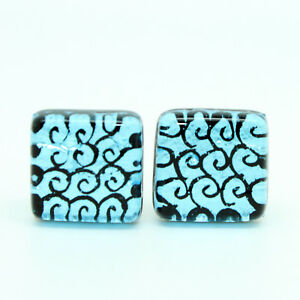 Murano Glass Cufflinks Light Blue & Black Swirl Patterned Square Handmade Venice