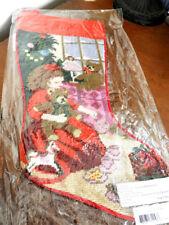 Sferra Needlepoint Christmas Stocking GIRL'S BEAR / DOLL & GIFTS Holiday - NEW!
