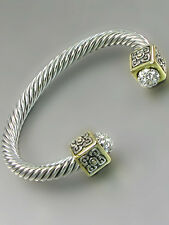 Twist Silver Toned Rhodium Plated Bracelet With Square Two Tone Pave