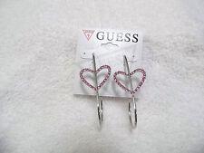 Guess Silver Heart/ Pink Stone Drop Earrings