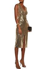 Alice + Olivia Leora gold sequin midi sexy bodycon evening dress NWT 0 $698.00