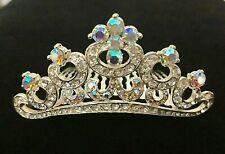 AB Crystal Scroll Hair Comb Tiara - Prom Bridal Formal Hair Clip Headpiece