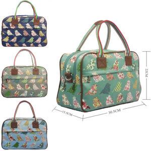 Ladies Oilcloth Pigeon Holdall Weekend Travel Shoulder Bag Handbag Womens
