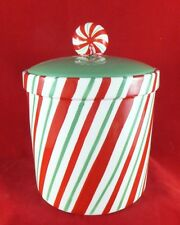 St Nicholas Square Candy Greeting Candy Cane Cookie Jar Christmas Xmas Canister