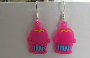 Pink Cup Cake Rubber/Silicone Dangling Earrings