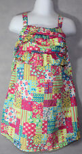 Girls BOUTIQUE HANNA ANDERSSON Madras Floral Patches SLEEVELESS DRESS 100 4 Yrs