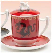 Teetasse mit Sieb und Deckel Zhu rot Bone China Porzellan