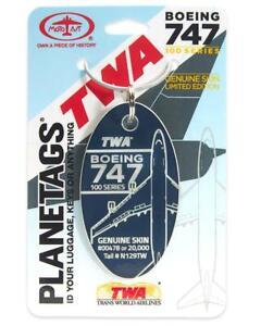 TWA Trans World Airlines Boeing 747-100 Tail #N129TW Aluminum Plane Skin Bag Tag
