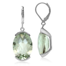 22.06ct Natural Oval Shape Green Amethyst 925 Sterling Silver Leverback Earrings