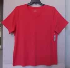 CJ Banks Size 1X Solid Coral knit top, V NECK, short sleeves   NWT