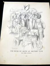 RARE 1920s Art Deco GAZETTE BON TON Print UN HEURE DU MATIN AU RECTOR'S CLUB