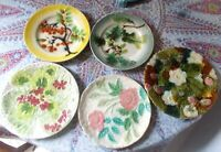 LOT DE 5 ANCIENNE  ASSIETTES EN  BARBOTINE