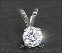 Diamant 585 Gold Damen Anhänger, Brillant mit 0,93ct, VS2; Weißgold Gleiter