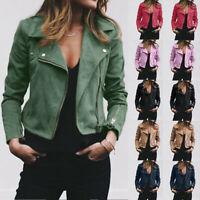 Women's Ladies Artificial Leather Jacket Coat Zip Biker Casual Tops Clothes LaSP