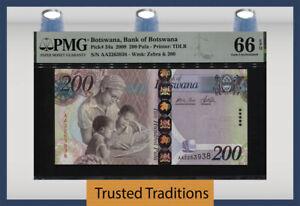 TT PK 34a 2009 BOTSWANA 200 PULA BANK OF BOTSWANA PMG 66 EPQ GEM UNCIRCULATED