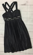 My Michelle Designer Dress XS Extra Small Black Empire Waist Sequenced Formal