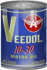 Vintage Antique Style Metal Sign Veedol Motor Oil Can Cutout 12x18