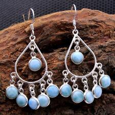 Dominican Republic larimar Chandelier Dangle Earring 925 Sterling Silver Jewelry
