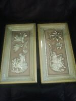Vintage 50's METALCRAFT 3-D WALL ART four seasons fall & winter plum gold cream