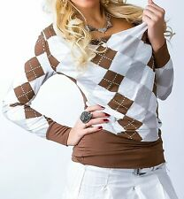 ♥ SeXy Miss Damen Shirt Karo Rauten Wasserfall Girly Long Top 34/36/38 braun NEU