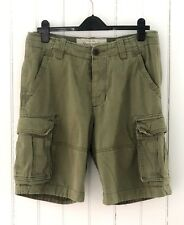 Abercrombie & Fitch Mens Sz 32 Shorts Heavy Cargo Shorts Distressed Olive Green