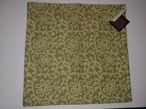 """NWT Pottery Barn Kantha Green Cotton Pillow Coussin Cover 18"""" x 18"""" Embroidered"""