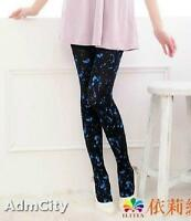 Admcity Opaque Spandex Pantyhose Tights with Blue Print Black/Blue One Size