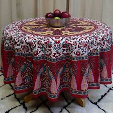 "Handmade Floral Peacock 72"" Round 100% Cotton Tablecloth Astonishing Red"