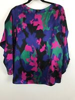 Womens Talbot Blouse Top Size 6 Multi Color Floral Geo Pattern Open Sleeve Silk