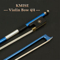 Blue Carbon Fiber Full Size Violin Bow Stick 4/4 Size Horse Hair Frog