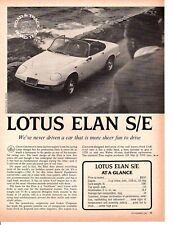 1968 LOTUS ELAN S/E ~ ORIGINAL 5-PAGE ROAD TEST / ARTICLE / AD