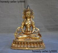 old Tibet Buddhism bronze Gilt tara Kwan-Yin Bodhisattva Amitayus buddha statue