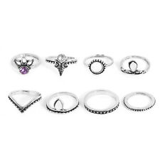8Pc Set Silver Gold Boho Fashion Arrow Gemstone Midi Finger Knuckle Ring Jewelry
