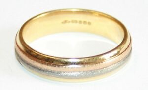New Old Stock Gents 18ct 3 Colour Gold Wedding Ring Size Q 1/2 Comfort Fit