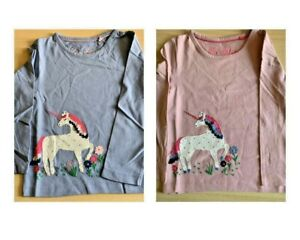 Girls Mini Boden Unicorn Applique Long Sleeve Top Pink & Blue 2-9 Years NEW