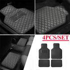 Black/Beige Car Floor Mats 4PCS Set PU Leather All Weather Protection Universal