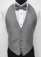 Boys Silver Open Back Tuxedo Vest & Tie Set Herringbone Wedding Ringbearer Prom