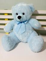 Elka Australia Bright Blue Large Teddy Bear Plush Toy with Bow 39cm Tall!