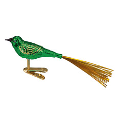 OLD WORLD CHRISTMAS GREEN LOVEBIRD w/TINSEL TAIL CLIP-ON GLASS ORNAMENT 18024