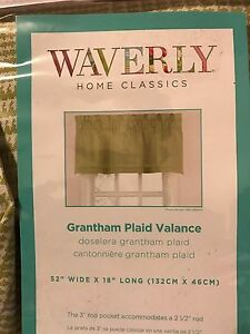 "WAVERLY GRANTHAM PLAID CELERY STRAIGHT VALANCE 18"" X 52"" CURTAINS GREEN/PURPLE"