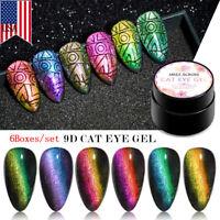 MEET ACROSS 6Boxes/set 9D Cat Eye UV Gel Nail Polish Soak off Magnetic Varnish