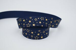 Navy and Gold Foil Star 25mm Grosgrain Ribbon per metre